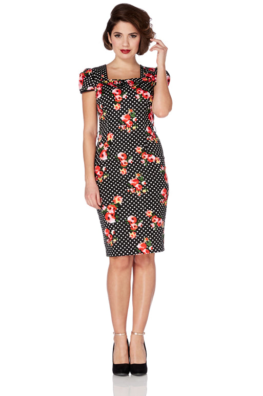 Voodoo Vixen - Beverly Floral Rockabilly T-Dress - Egg n Chips London