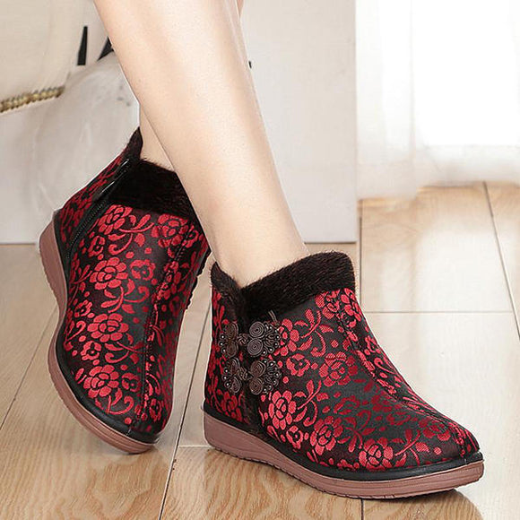 Fur Lining Flower Ankle Winter Cotton Boots