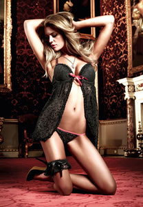 Baci Lingerie - Black and Raspberry Flocked Mesh Babydoll Wire G-String - Egg n Chips London