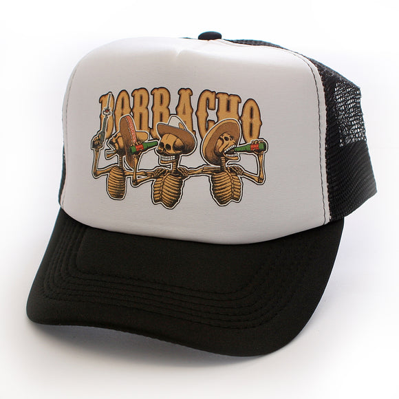 Toxico Clothing - Unisex Black Borracho SkeleBros Trucker Hat - Egg n Chips London