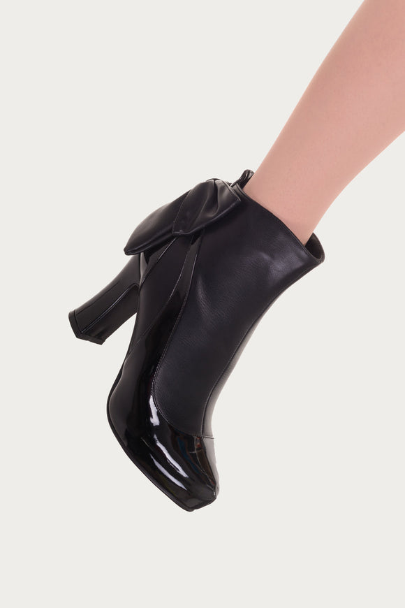 Banned Apparel - Sadie Black Bow Heel Ankle Boots - Egg n Chips London