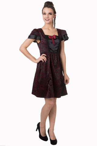 Banned Apparel - Black Gothic Ivy Pattern Bow Dress