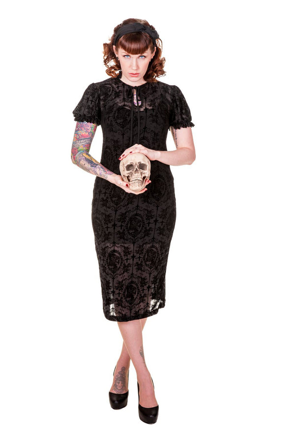 Banned Apparel - Black Gothic Retro Dress - Egg n Chips London