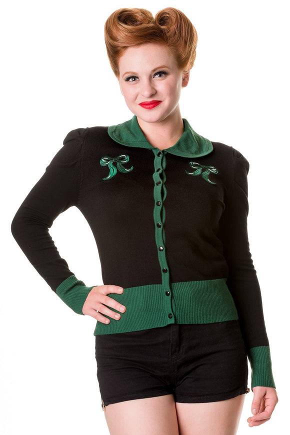 Banned Apparel -Black Green Vintage Bow Cardigan - Egg n Chips London