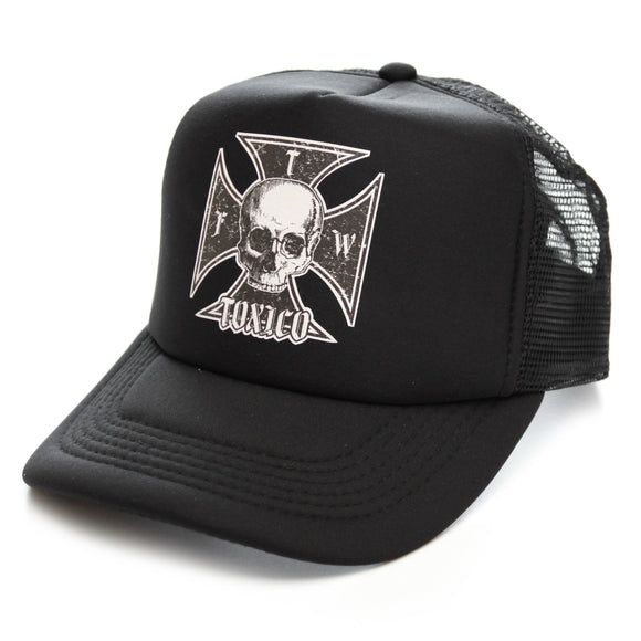 Toxico Clothing - Unisex Black Iron Cross Skull Trucker Hat - Egg n Chips London