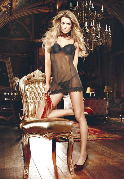 Baci Lingerie - Seduction Black Lace Chemise with Thong - Egg n Chips London
