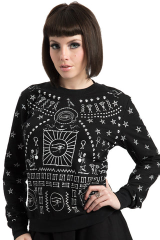 Jawbreaker Clothing - Black Printed Hieroglyph Sweatshirt