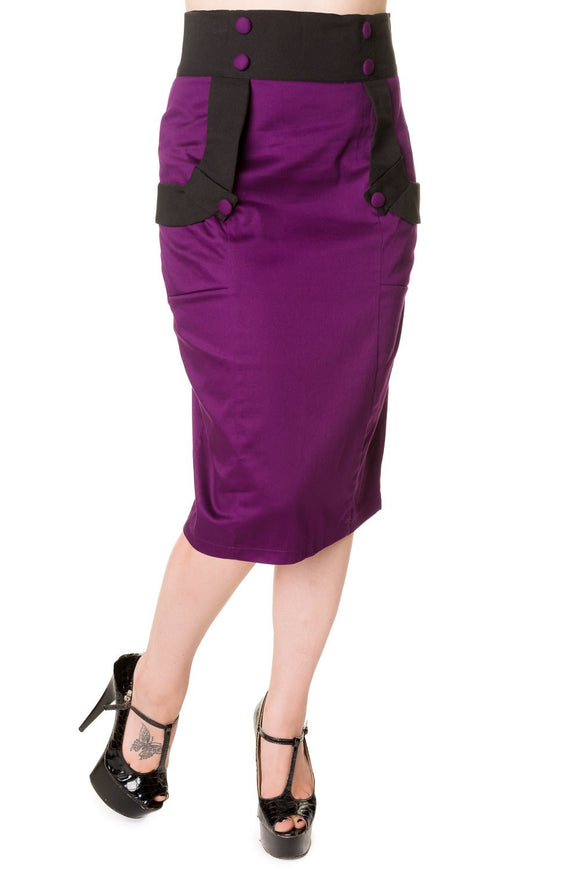 Banned Apparel - Black Purple Retro Pencil Skirt - Egg n Chips London