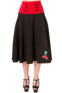 Banned Apparel - Black Red Cherry Long Skirt - Egg n Chips London