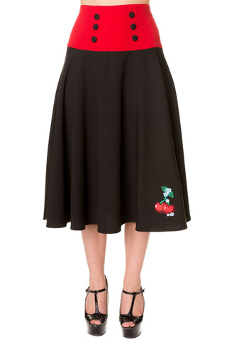 Banned Apparel - Black Red Cherry Long Skirt