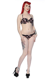 Banned Apparel - Black Red Sugar Kitty Bikini Swimsuit - Egg n Chips London