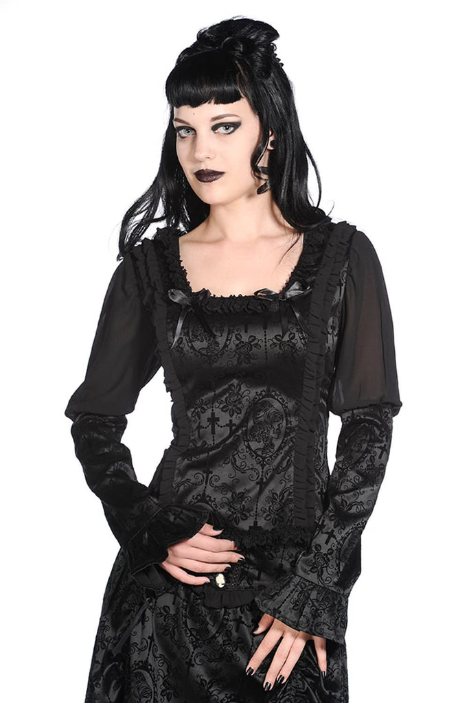 Banned Apparel - Black Satin Corset Shirt