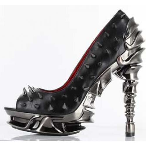 Hades Shoes - Black Talon Spinal Heel - Egg n Chips London