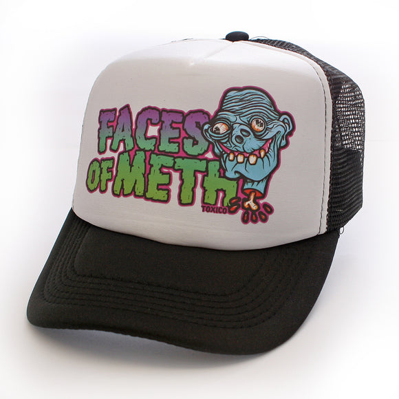 Toxico Clothing - Unisex Black-White Faces Of Meth 1 Trucker Hat - Egg n Chips London