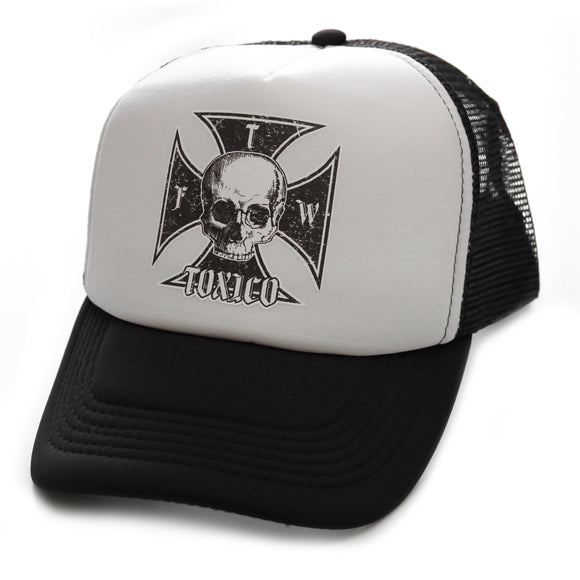 Toxico Clothing - Unisex Black-White Iron Cross Trucker Hat - Egg n Chips London