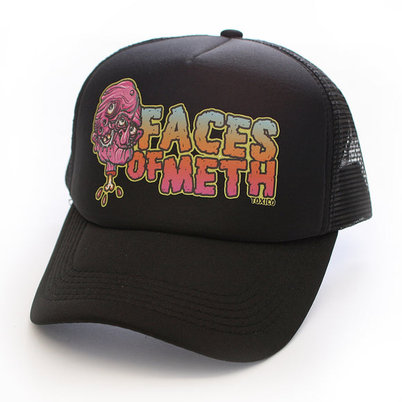 Toxico Clothing - Unisex Black Faces Of Meth 2 Trucker Hat - Egg n Chips London
