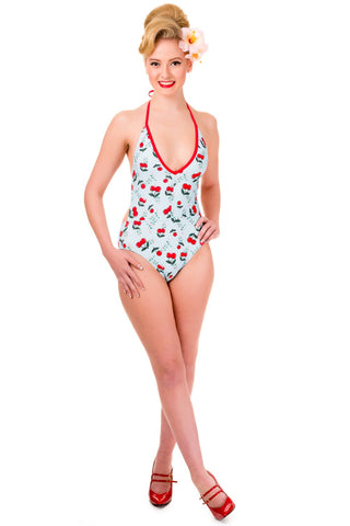 Banned Apparel - Blindside Cherries One Piece Halter Swimsuit