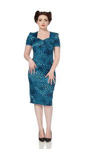 Voodoo Vixen - Serena Blue Leopard Satin Pencil Dress - Egg n Chips London
