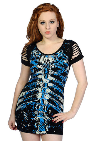 Banned Apparel - Blue Ribcage Top