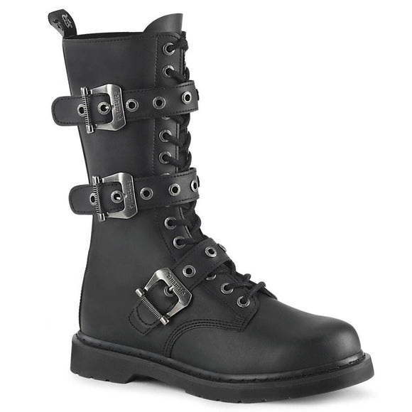 Demonia - Men's Gothic Bolt Mid-Calf Combat Boot With Triple Buckle Straps