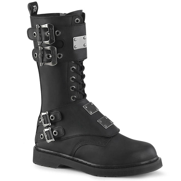 Demonia - Men's Gothic Bolt Mid-Calf Combat Boot With Buckled Panels