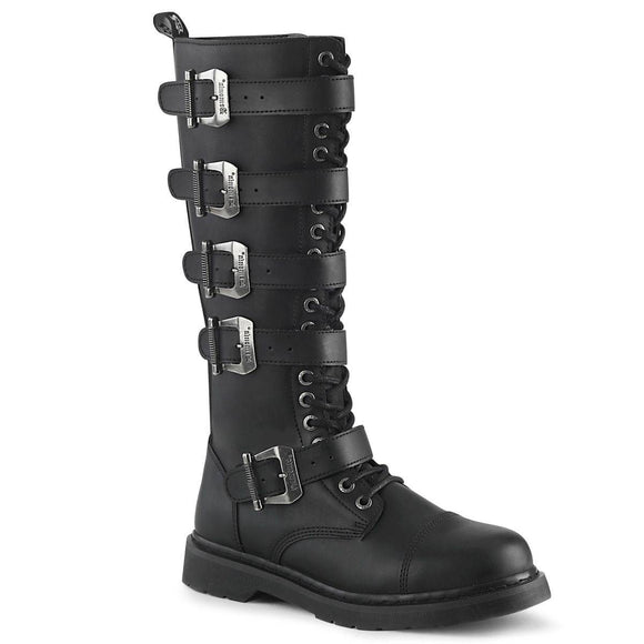 Demonia - Men's Gothic Bolt Knee Hight Combat Boot With 5 Buckle Straps