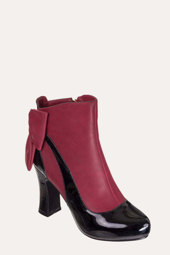 Banned Apparel - Sadie Bordeaux Bow Heel Ankle Boots - Egg n Chips London