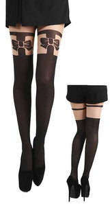Pamela Mann - Bow OTK Suspender Tights Natural and Black - Egg n Chips London
