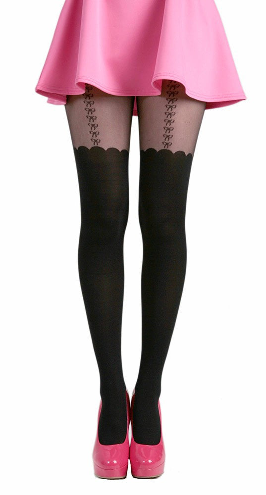 Pamela Mann - Bow Suspender Tights - Egg n Chips London
