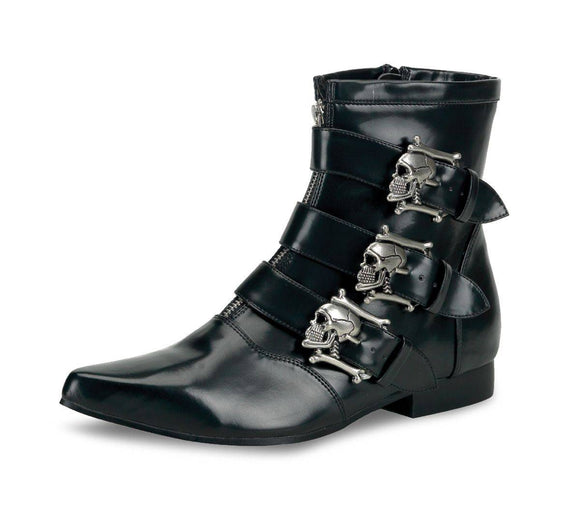 Demonia - Men's Brogue Winklepicker Beatle Boot with Skull Buckles