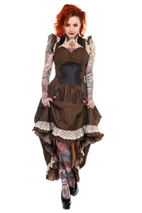 Banned Apparel - Brown Black Striped Victorian Dress - Egg n Chips London