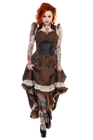 Banned Apparel - Brown Black Striped Victorian Dress