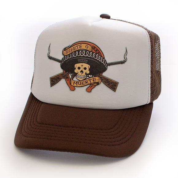 Toxico Clothing - Unisex Brown Muerte Bandit Trucker Hat - Egg n Chips London