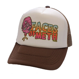 Toxico Clothing - Unisex Brown-White Faces Of Meth 2 Trucker Hat - Egg n Chips London