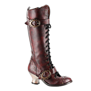 Hades Shoes - Burgundy Vintage Knee High Boots - Egg n Chips London