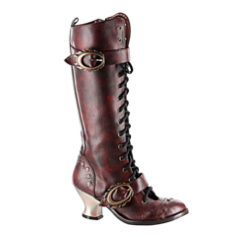 Hades Shoes - Burgundy Vintage Knee High Boots