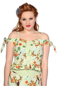 Banned Apparel - Butterfly And Flowers Green Top - Egg n Chips London