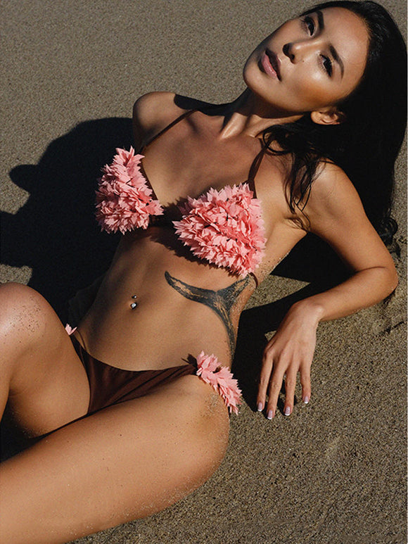 Ladies Pink & Brown Flower Petals Halter String Bikini