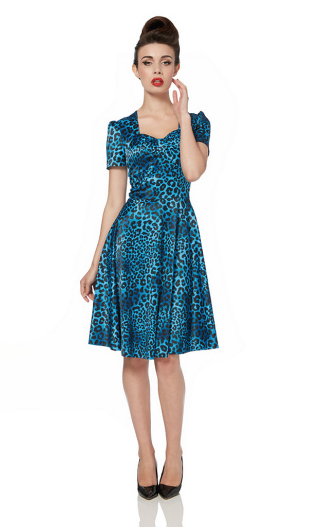 Voodoo Vixen - Camille Blue Leopard Satin Tea Dress