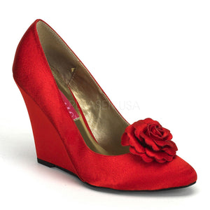 Bordello - Camille01 Red Satin Wedge Pump - Egg n Chips London