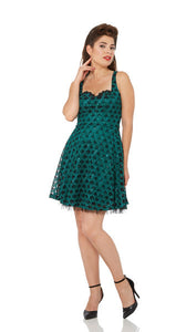 Voodoo Vixen - Carissa Pin-Ups For Vets Vintage Green Sequined Dress - Egg n Chips London