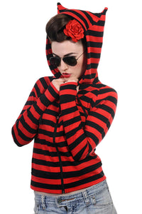 Banned Apparel - Cat Ears Striped Hoodie - Egg n Chips London