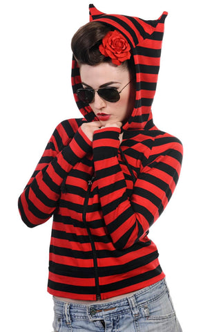 Banned Apparel - Cat Ears Striped Hoodie