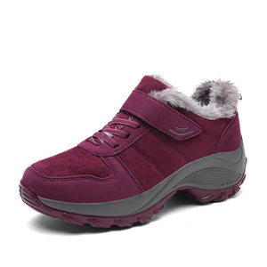 Cotton Shoes Fur Lining Hook Loop Sport Ankle Boots