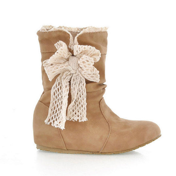 Lace Butterfly Knot Mid Calf Bow Knot Snow Boots