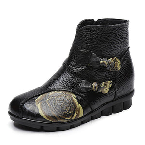 SOCOFY Casual Floral Pattern Genuine Leather Ankle Boots