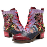 SOCOFY Embroidery Splicing Pattern Ankle Genuine Leather Boots