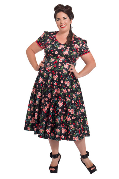 Voodoo Vixen - Cherry Blossoms Plus Size Flare Dress - Egg n Chips London