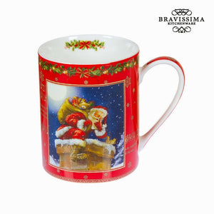 Bravissima Kitchen - Christmas Red Porcelain Mug - Egg n Chips London