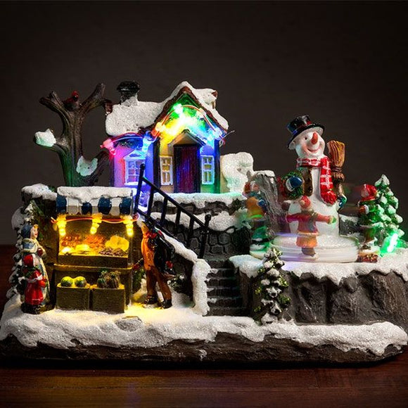 Christmas Scene with Lights and Movement (12 LED) - Egg n Chips London